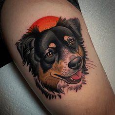 Dog Tattoos, Animal Tattoos, Body Art Tattoos, I Tattoo, Maryland Tattoo, Traditional Tattoo Animals, Dog Portrait Tattoo, Tradional Tattoo, Baltimore Maryland