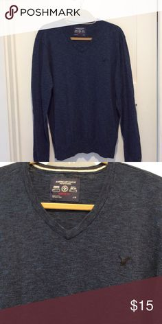 American Eagle, Men's sweater, L Dark blue cotton pullover v-neck sweater by American Eagle. Great condition, barely worn! Size Large. 20% discount on two or more items! American Eagle Outfitters Sweaters V-Neck