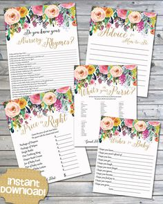 Free baby shower printables pinterest free baby shower instant download watercolor floral printable baby by janepaperie more information more information adorable free baby shower game solutioingenieria Gallery