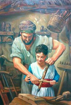 Joseph teaching Jesus his trade. Father and son carpentry team! Christian Paintings, Christian Artwork, Christian Images, Catholic Art, Catholic Saints, Religious Art, Pictures Of Christ, Bible Pictures, Lds Art