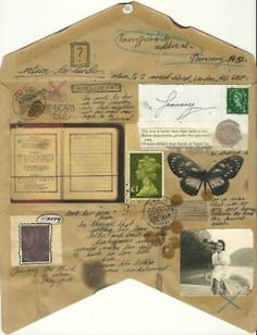 Opened up envelope. Altered Books, Altered Art, Envelope Carta, Paper Art, Paper Crafts, Old Letters, Decorated Envelopes, Going Postal, Lost Art