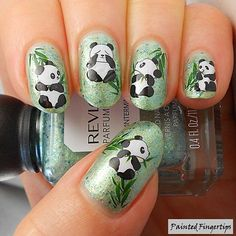 This time I'll be doing a tutorial on how to do panda nail art. Cute & Easy Panda Nail Art Tutorial You will need these polishes. Animal Nail Designs, Animal Nail Art, Diy Nail Designs, Nail Polish Designs, Simple Nail Designs, Fancy Nails, Cute Nails, Pretty Nails, Nail Art Diy