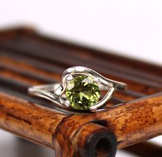 Faceted Peridot Ring  Gemstone Ring $35.00