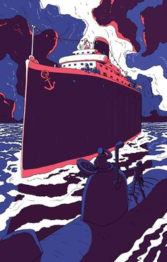 Travel poster style encounter on the sea. Movie Posters, Graphic Illustration, Fashion Poster, Art, Anime, Street Art