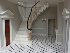 Georgian dolls house with hand marbled staircase.