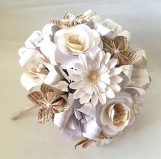 Bespoke Bridal Bouquet made from paper and book pages embellished with pearl gems by Lily Belle Keepsakes