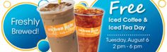 FREE Iced Coffee or Iced Tea at Au Bon Pain (8/6 Only)