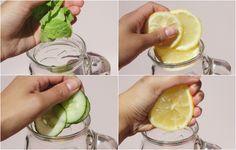 Lekker zomers: citroen, munt en komkommer (gember vast ook lekker erin!)