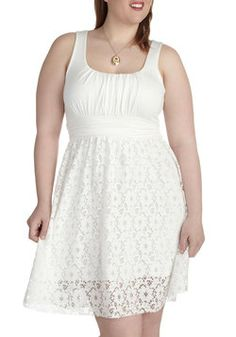 Thai Iced Tea Dress in Coconut -  Plus Size, #ModCloth - white sundress with lace overlay. I need a new white dress...