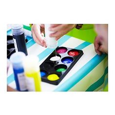 IKEA - MÅLA, Paint,  , , Comes with 8 bottles in different colors. A mixing tray and color chart are included so your child can blend paints and make their own exciting colors.Ready-mixed paints in vivid colors make it easy to start creating artwork right away.The paint is ready to use, but you can also dilute it with water for a lighter effect.It's easy to control the paint flow with easy-to-squeeze bottles.
