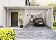 Get inspired by photo about carport ideas attached to house. best custom wood carport & open carport design for your lovely home. Car Porch Design, Garage Design, Exterior Design, Modern Carport, Car Shed, Car Canopy, Carport Garage, Carport Sheds, Pergola Carport