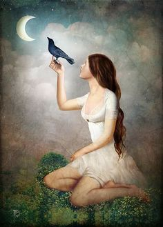 """""""The Moon Asked The Crow"""" Digital Art by Christian Schloe posters, art prints, canvas prints, greeting cards or gallery prints. Find more Digital Art art prints and posters in the ARTFLAKES shop. Fantasy Kunst, Fantasy Art, Illustrations, Illustration Art, Art Fantaisiste, Crow Art, Whimsical Art, Surreal Art, Art Forms"""