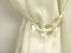 Modern Glass Curtain Tieback Drapery Passementerie by Eleptolis....A SIMPLE BUT ELEGANT TIEBACK IS BEAUTIFUL WITH THE SOLID DRAPES...CHERIE