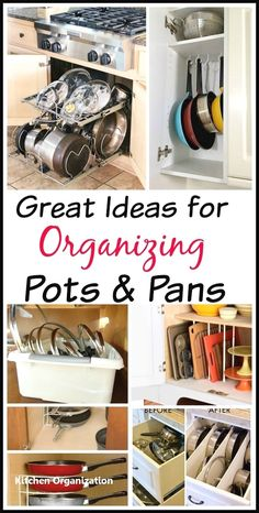 Get your kitchen organized with these awesome ideas for organizing pots and pans! Tired of all your disorganized pots and pans? Get you kitchen organized easily with these 10 awesome tips for organizing pots and pans! They're so easy to implement! Pan Organization, Kitchen Cabinet Organization, Storage Organizers, Organisation Ideas, Cabinet Ideas, Cabinet Design, Classic Kitchen, New Kitchen, Life Kitchen