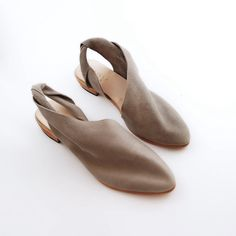 The April PSG~ 2cm Heel ~ Soft Grey Slingbacks ~ Handmade Shoes
