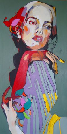 """Waiting"" - Dominik Jasinski, oil on canvas {figurative #expressionist art female head hands shoulder woman face painting}"
