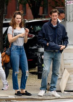 Couple goals: Matt Smith, 34, and Lily James, 28, remain inseparable after being spotted taking a stroll together in New York City on Sunday