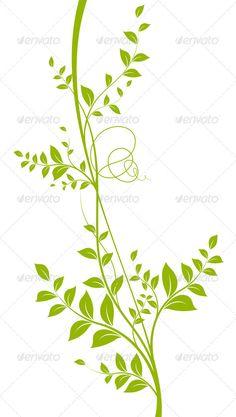 Green Vector Liana Over White - Plant Silhouette