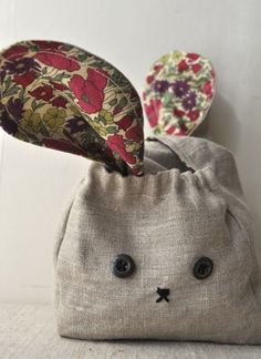 simply sweet baby bunny bag -  cut fabrics (and interfacing) of your choice: they measure (approximately!!) 4.5 inches high, 4.5 inches wide and 2.75 inches deep. The bunny ears are 9.5 inches long.