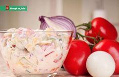 Rajčatový salát se zakysanou smetanou recept Czech Recipes, Ethnic Recipes, International Recipes, Nutella, Ham, Potato Salad, Catering, Cabbage, Paleo