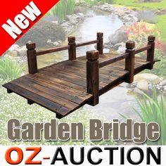 Wooden Garden Decor Bridge Feature Decoration 160cm Rustic Design Outdoor
