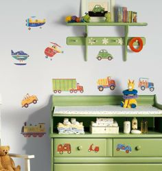 Nursery Wall Decals: RoomMates RMK1132SCS Transportation Peel & Stick Wall Decals from RoomMates. ............ Get Wall Decals at Amazon from Wall Decals Quotes Store