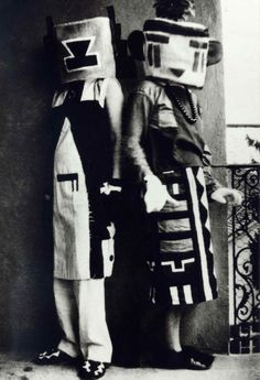 Sophie Taeuber-Arp and her sister Erika Taeuber, Hopi Kachina costumes, 1921-1922