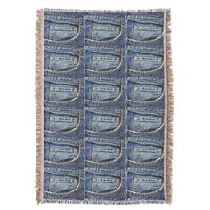 Shop Blue Jeans Pocket Throw Blanket created by Photo_Genesis. Diy Jeans, Diy Clothes Jeans, Old Baby Clothes, Recycle Old Clothes, Diy Clothes Videos, Recycle Jeans, Clothes Crafts, Upcycle, Clothes Line