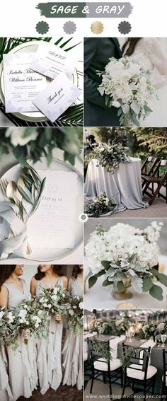Top 6 Sage Green Weddings Color Palettes---SAGE & GRAY fall and winter weddi. Top 6 Sage Green Weddings Color Palettes—SAGE & GRAY fall and winter wedding ideas, Neutral Wedding Colors, Winter Wedding Colors, Wedding Color Schemes, Spring Wedding, Sage Green Wedding, Wedding White, Rustic Wedding, Wedding Reception, Dream Wedding