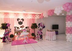 Tema de Festa Minnie Rosa Master - Decorativa Festas - Decoração de Festa Infantil em Florianópolis Disney Princess Birthday Party, Wild One Birthday Party, Baby Girl 1st Birthday, Minnie Birthday, First Birthday Parties, Minnie Mouse Decorations, Minnie Mouse Theme, Pink Minnie, 1st Birthday Balloons