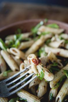 Penne Pasta Salad with Olive Tapenade, Fresh Herbs and Pine Nuts
