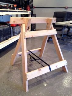 diy homemade wooden sawhorse workshop project