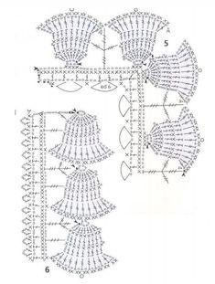 Handmade-kursy ,wzory ,tutoriale: Koronki szydełkowe (filet) schematy Crochet Lace Edging, Crochet Borders, Crochet Diagram, Filet Crochet, Crochet Doilies, Crochet Flowers, Crochet Stitches, Knit Crochet, Crochet Christmas Decorations