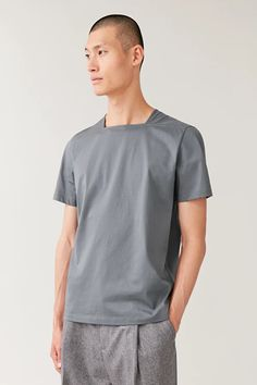 SQUARE NECK T-SHIRT - Grey - T-shirts - COS European Dress, Staple Pieces, Cos, Neck T Shirt, Gray Color, Short Sleeves, Menswear, Grey, Casual