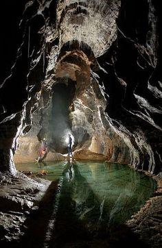 The Crystal Pool in Dan yr Ogof Caves, South Wales