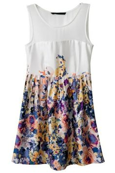 Semi-sheer Floral Sleeveless Dress