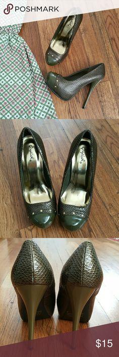"QUPID Green Snakeskin Print Heels Patent leather look. Gold stud detail. Snake print. Platform front, 5"" platform heel.   Excellent Pre-Loved Condition  All man made material Qupid Shoes Heels"