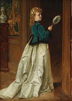 Władysław BAKAŁOWICZ (1833-1903)  Kobieta z wachlarzem olej, płótno; 16,5 x 11,5 cm;