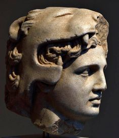Head of Alexander the Great as young Herakles.  Marble. Greek, Hellenistic, late 4th — 3rd cent. BCE.  On loan from a private collection.  Inv. No. L.2014.62.3.  New York, the Metropolitan Museum of Art