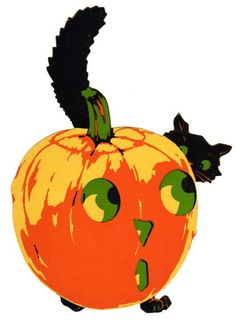 Dennison Halloween Black Cat Peeking Over JOL Die-Cut