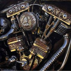 Photo. Harley HarleyDavidson Shovelhead Engraving Details