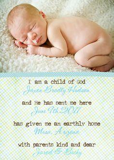 I am a Child of God baby birth by TamiRayCardsandPrint on Etsy, $12.00