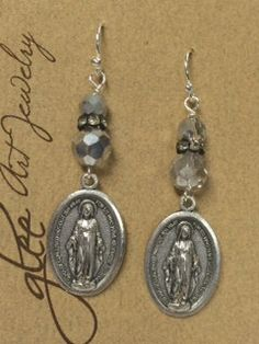 Miraculous Religious Medal Charm Earrings Religious by gleegallery, $24.00