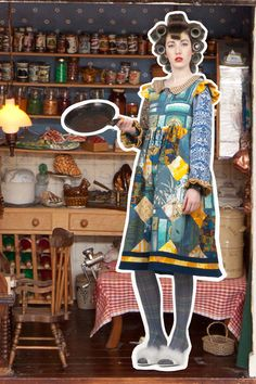 Larder: Homely pinafore, Housekeeper blouse