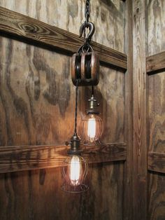 """Vintage Industrial Pulley Pendant Drop Light with Trouble Cage Shades  39 1/2"""" Long"""