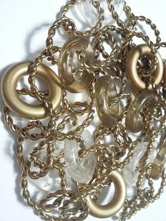 Vintage chunky LARGE LINKS gold and clear lucite Resin chain