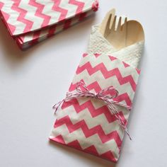 Chevron Bags 10 Silverware Bags w/ Wood by CherishedBlessings, $12.99