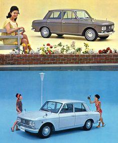 Vintage Nissan BlueBird 410 ピニンファリーナに委託されたボディデザインで、日本的な竹垣根をイメージさせるフロントグリルとその左右に太いモールで囲まれたデュアル・ヘッドライト、ボディサイドをテールに向けて下降する太いプレスライン、太いCピラーとルーフを1周するライン、尻下がりのテールに付いた鍵型のテールライト等の個性的なディテールを持って登場した。