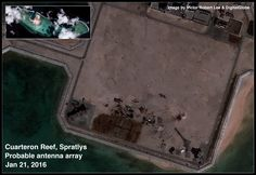 Probable antenna array at China's new base on Cuarteron Reef, Spratlys, South China Sea.