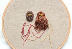 Embroidered girls with hoop embroidery art hoop art Embroidery Patterns Free, Hand Embroidery Stitches, Silk Ribbon Embroidery, Modern Embroidery, Embroidery Hoop Art, Hand Embroidery Designs, Cross Stitch Embroidery, Beginner Embroidery, Embroidery Tattoo